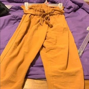 Orangish belted looks trousers!
